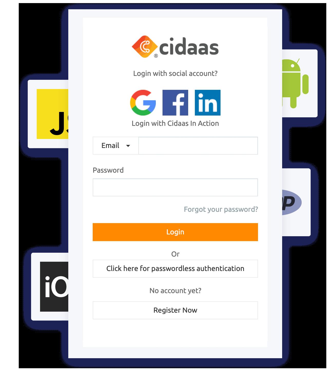 login integration with cidaas