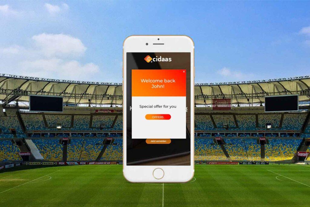 Marketing personnalisé et adressage des fans par l'identification sur les canaux numériques et dans le stade.